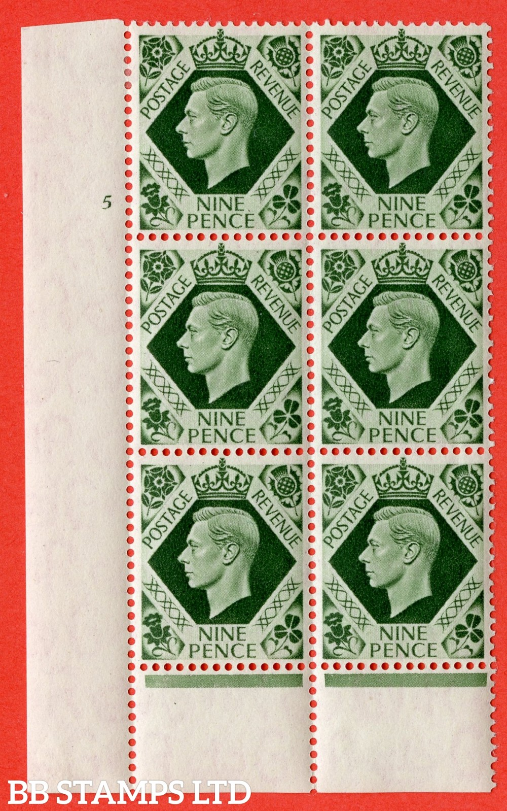 "SG. 473. Q25. 9d Olive-Green. A fine lightly mounted mint "" No Control cylinder 5 no dot "" control block of 6 with perf type 6 I/P."