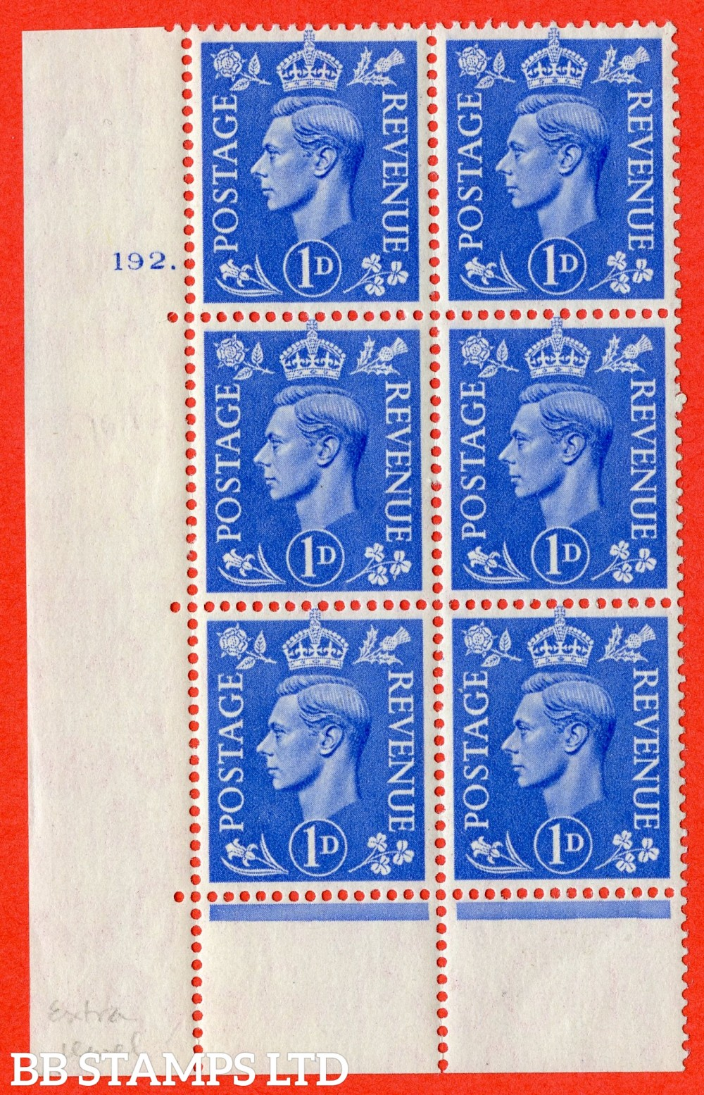 """SG. 504. Q6. 1d Light ultramarine. A superb UNMOUNTED MINT """" No Control cylinder 192 dot """" control block of 6 with perf type 6B E/P."""