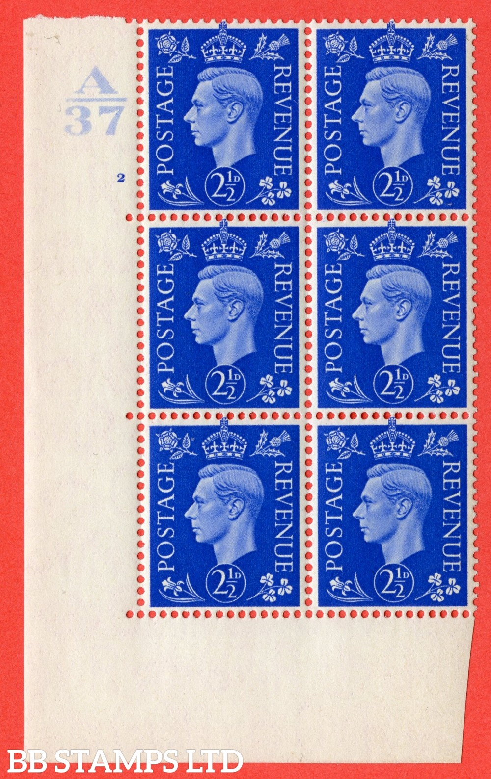 """SG. 466. Q13. 2½d Ultramarine.  A Superb UNMOUNTED MINT """" Control A37 cylinder 2 no dot """" control block of 6 with perf type 5 E/I. with listed variety """" Scratch on Temple """" R20/1."""