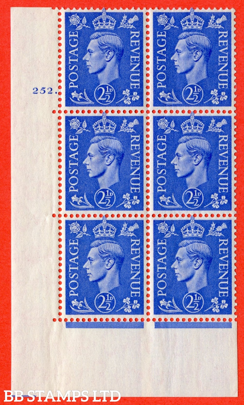 "SG. 489. Q14. 2½d Light ultramarine. A superb UNMOUNTED MINT "" No Control cylinder 252 dot "" control block of 6 with perf type 5 E/I."
