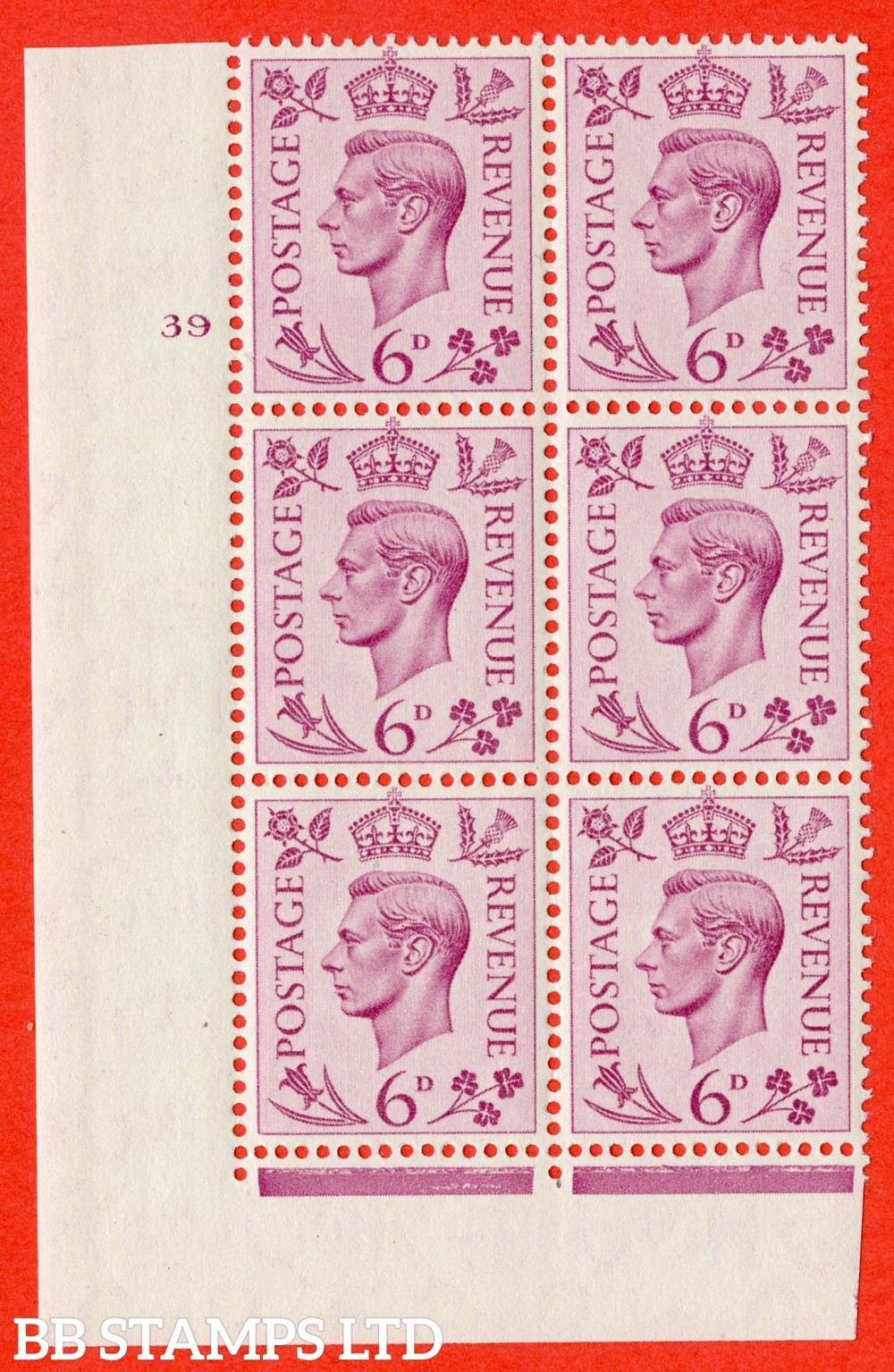 """SG. 470. Q22. 6d Purple. A superb UNMOUNTED MINT """" No Control cylinder 39 no dot """" control block of 6 with perf type 2 I/E"""