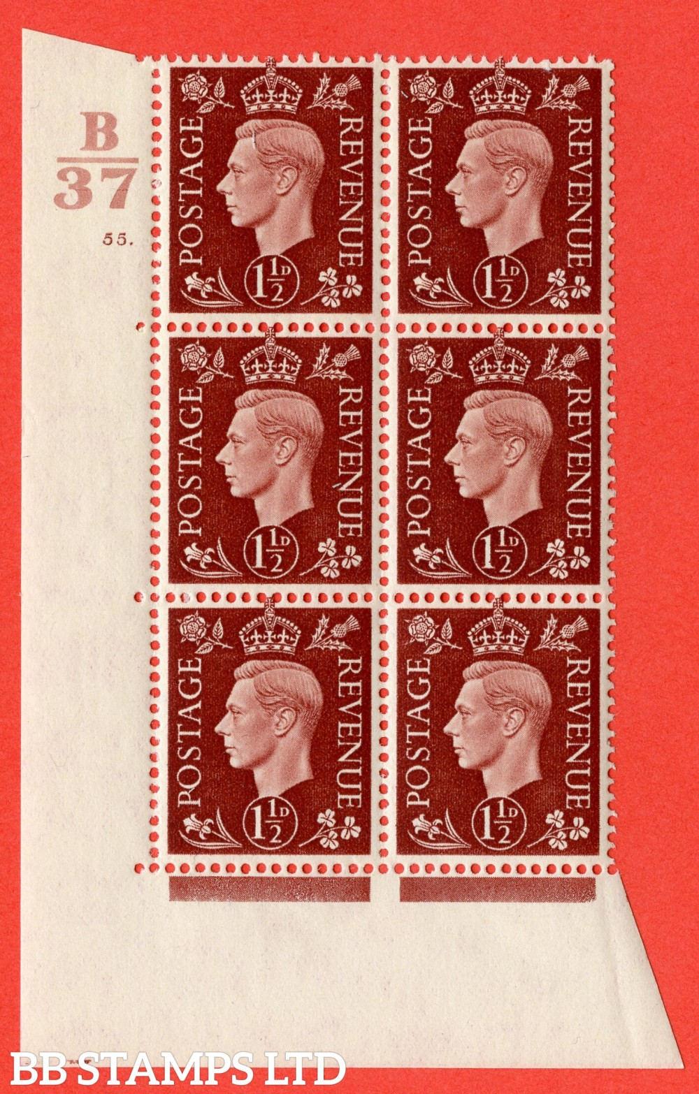 """SG. 464. Q7. 1½d Red-Brown. A fine lightly mounted mint """" Control B37 cylinder 55 dot """" block of 6 with perf type 5 E/I."""