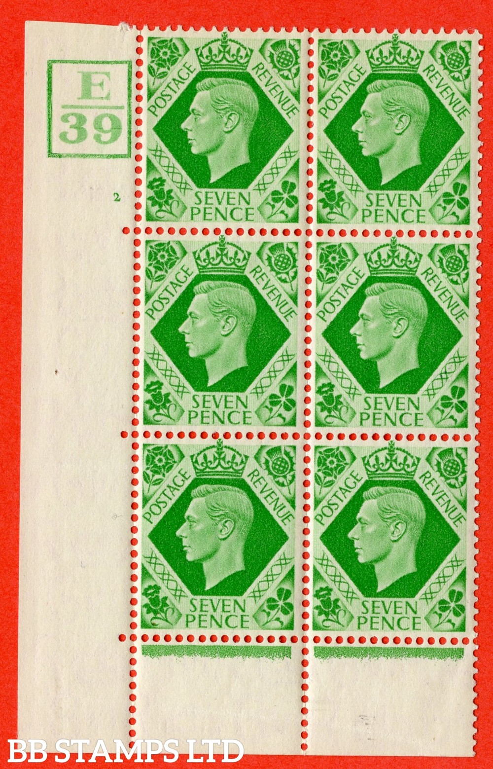 """SG. 471. Q23. 7d Emerald-Green. A fine lightly mounted mint """" Control E39 Box. Cylinder 2 no dot """" control block of 6 with perf type 6B E/P."""