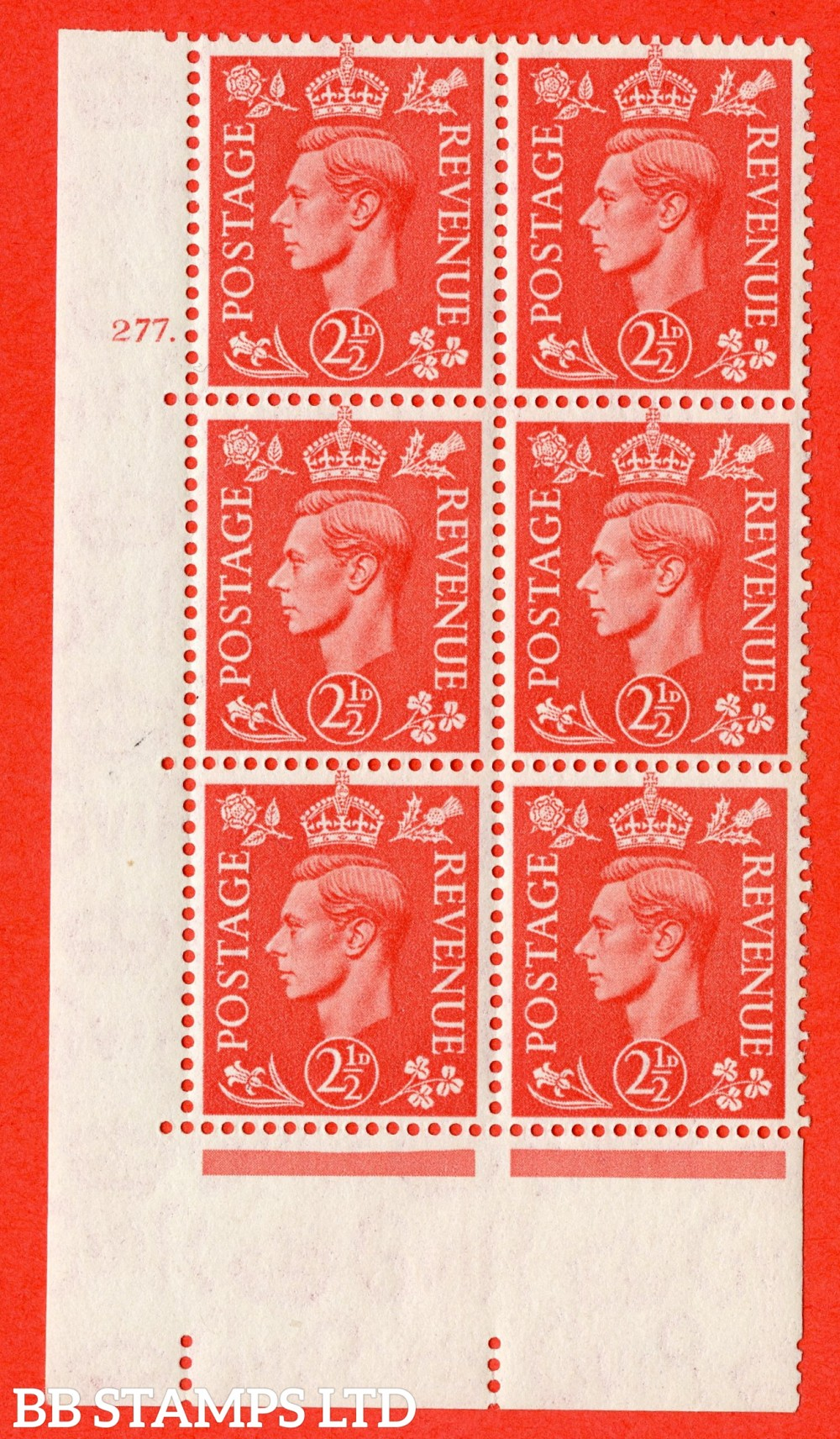 "SG. 507. Q15. 2½d Pale Scarlet. A fine lightly mounted mint "" No Control cylinder 277 dot "" control block of 6 with perf type 5 E/I."