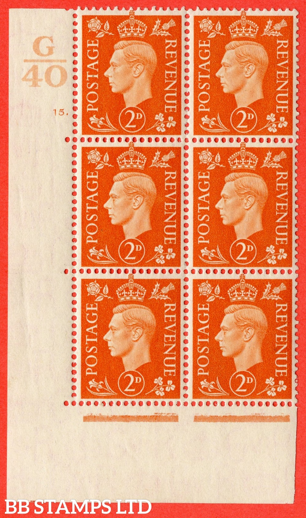 "SG. 465. Q10. 2d Orange. A fine lightly mounted mint "" Control g40 cylinder 15 dot "" control block of 6 with perf type 5 E/I."