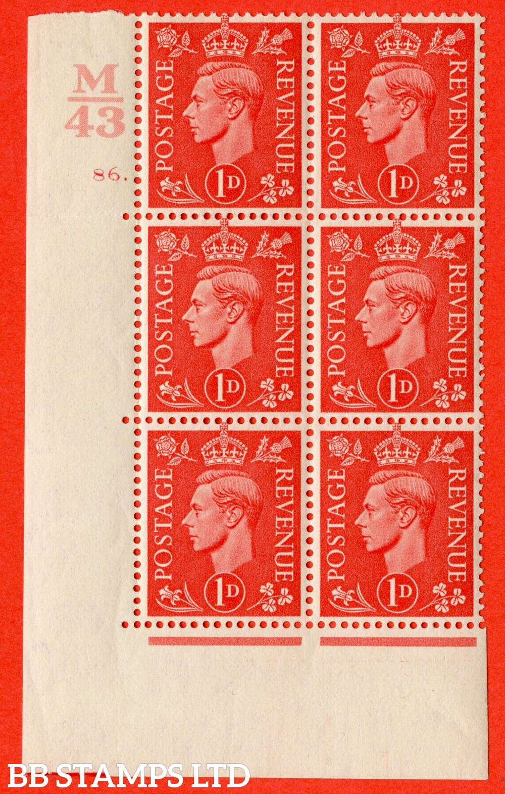 "SG. 486. Q5. 1d Pale scarlet. A fine lightly mounted mint "" Control M43  cylinder 86 dot "" control block of 6 with perf type 5 E/I."