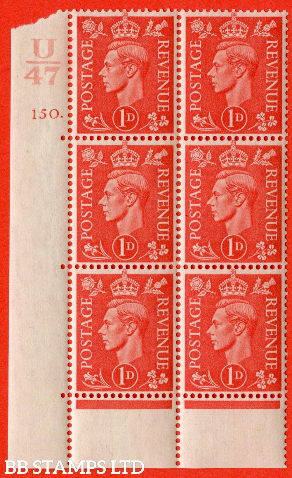 "SG. 486. Q5. 1d Pale scarlet. A superb UNMOUNTED MINT "" Control U47  cylinder 150 dot "" control block of 6 with perf type 6B E/P."
