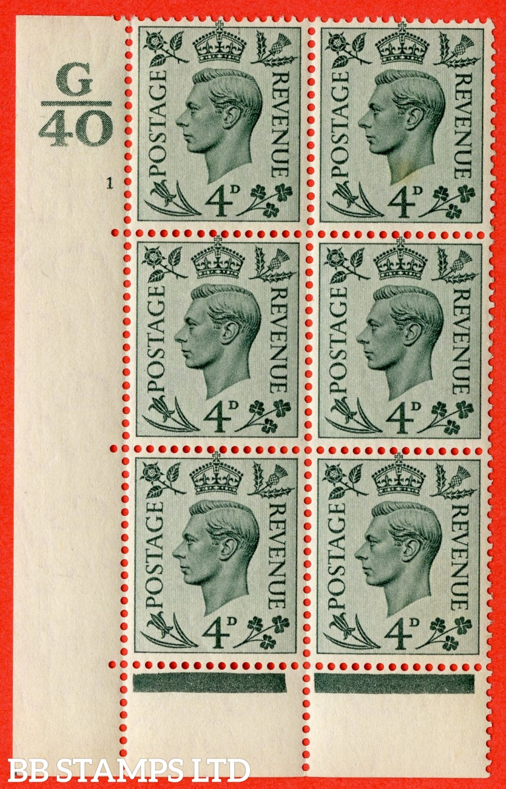 """SG. 468. Q19. 4d Grey-Green. A fine lightly mounted mint. """" Control G40. Cylinder 1 no dot """" control block of 6 with perf type 6B E/P."""