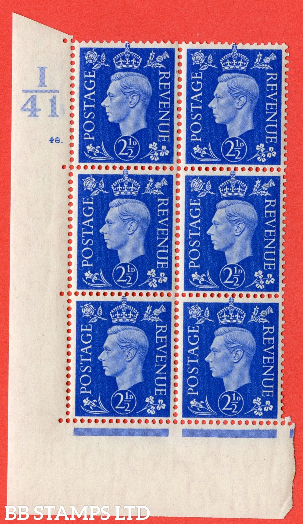 "SG. 466. Q13. 2½d Ultramarine. A superb UNMOUNTED MINT "" Control I41 cylinder 48 dot "" control block of 6 with perf type 5 E/I."