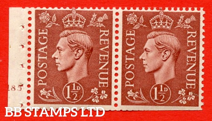"SG. 487b. Q25. 1½d pale red brown. UNMOUNTED MINT. Complet cylinder pane of 2 185 No Dot. Perf Type ""E"". Trimmed Perfs. RARE Unpriced is SG."