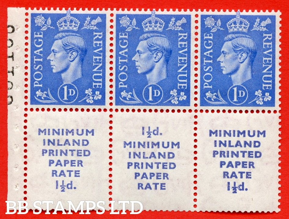 """SG. 504d. QB19. 1d ultramarine. A fine MOUNTED MINT complete booklet pane """" MINIMUM INLAND PRINTED PAPER RATE """" 15 mm high """". Perf type """" I """". Good Perfs."""