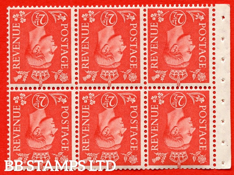 """SG. 507cw. QB34a. 2½d pale scarlet. A fine UNMOUNTED MINT Booklet pane of 6. Perf type """" I """". Good Perfs."""