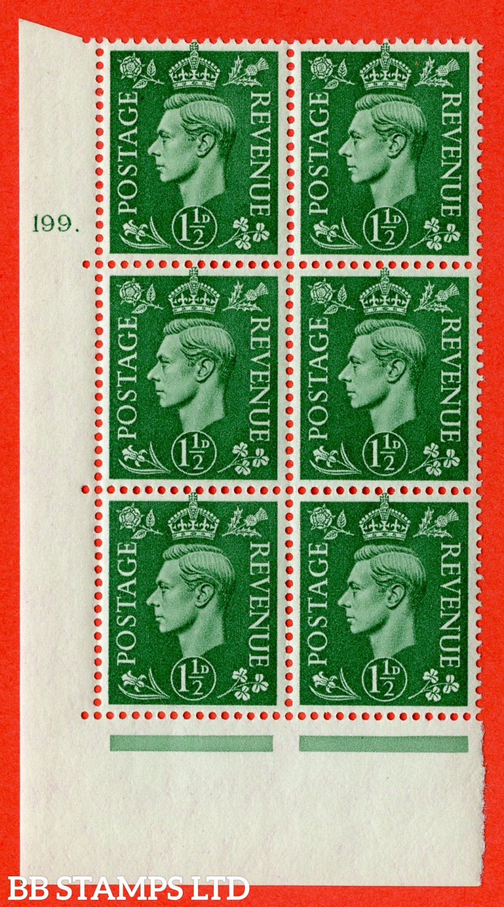"SG. 505. Q9. 1½d Pale Green. A superb UNMOUNTED MINT "" No Control cylinder 199 dot "" control block of 6 with perf type 5 E/I"