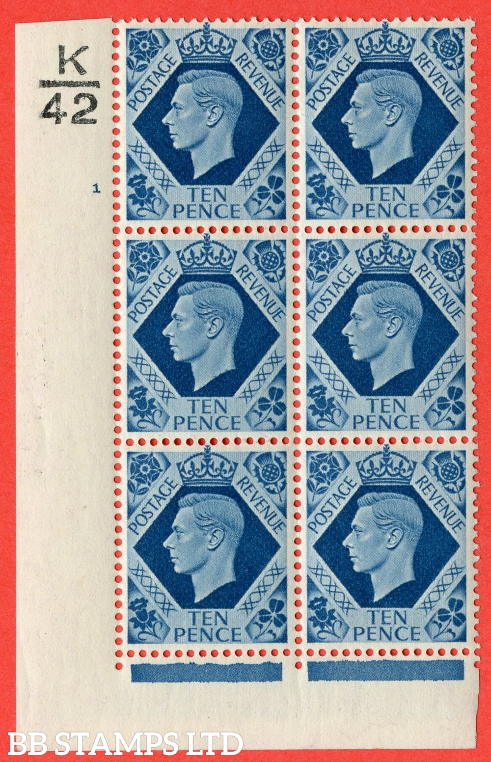 "SG. 474. Q26. 10d Turquoise-Blue. A fine lightly mounted mint "" Control K42 cylinder 1 no dot "" control block of 6 with perf type 2 I/E"