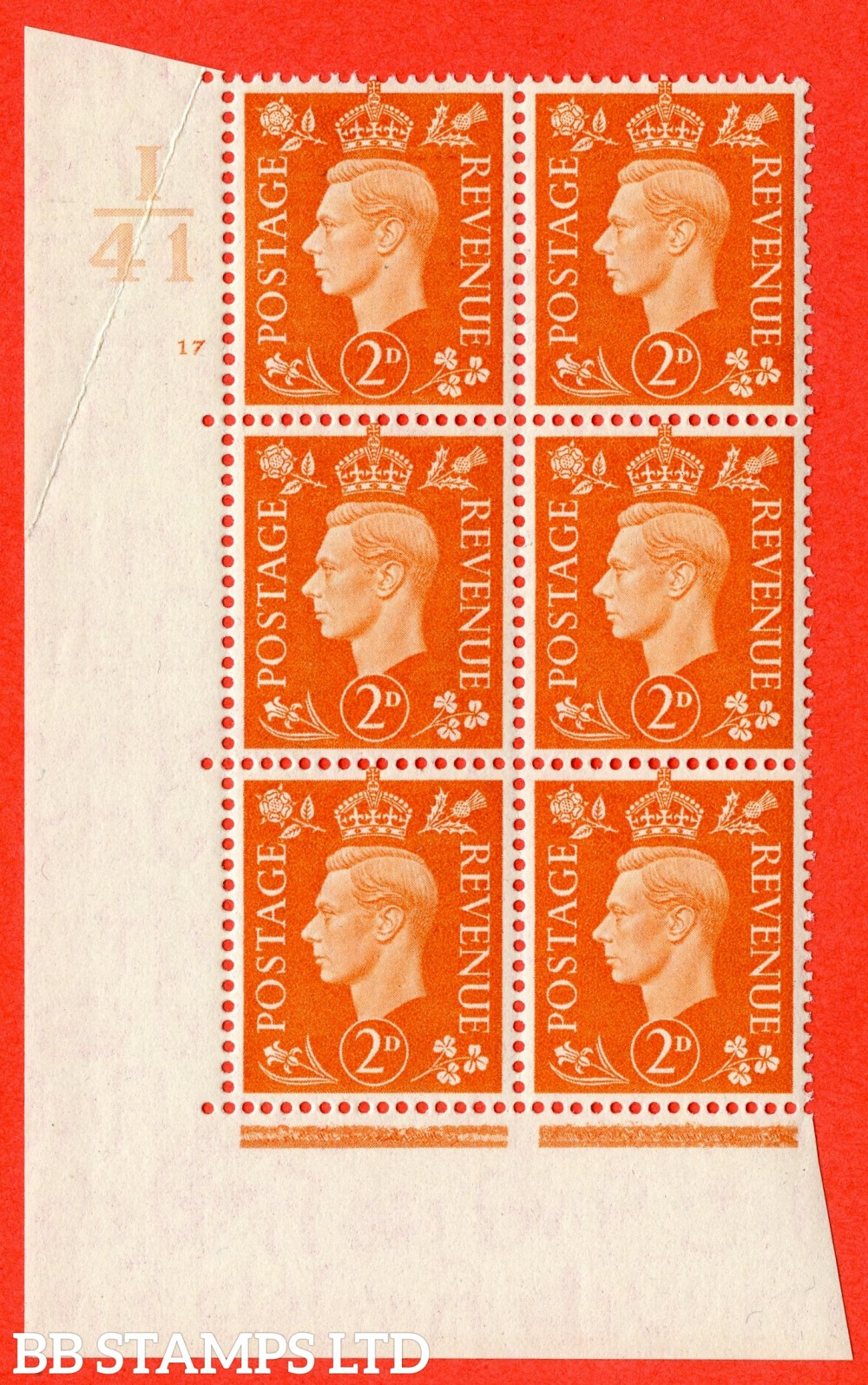 "SG. 465. Q10. 2d Orange. A fine lightly mounted mint "" Control I41 cylinder 17 no dot "" control block of 6 with perf type 5 E/I."