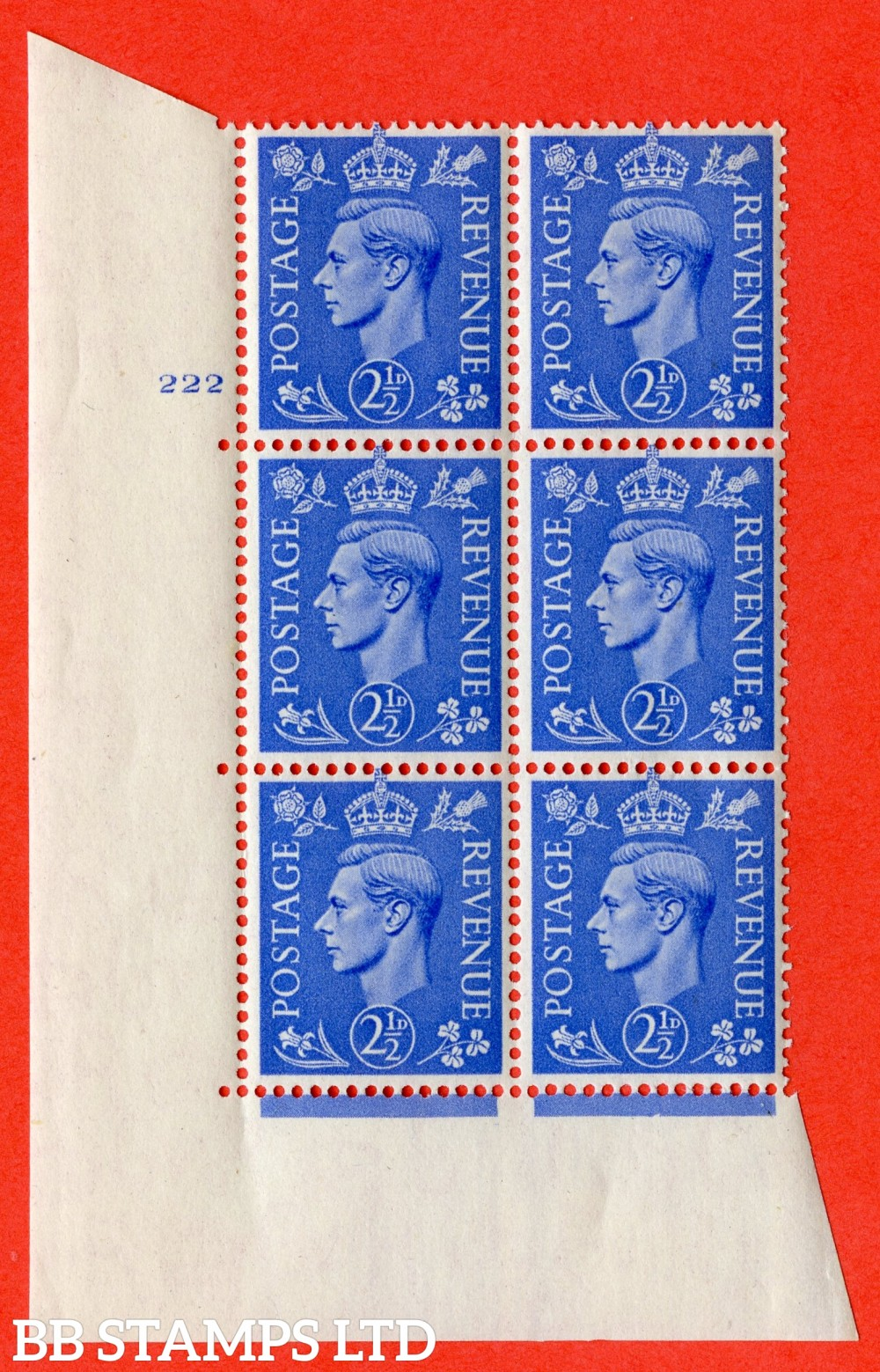 "SG. 489. Q14. 2½d Light ultramarine. A superb UNMOUNTED MINT "" No Control cylinder 222 no dot "" control block of 6 with perf type 5 E/I"