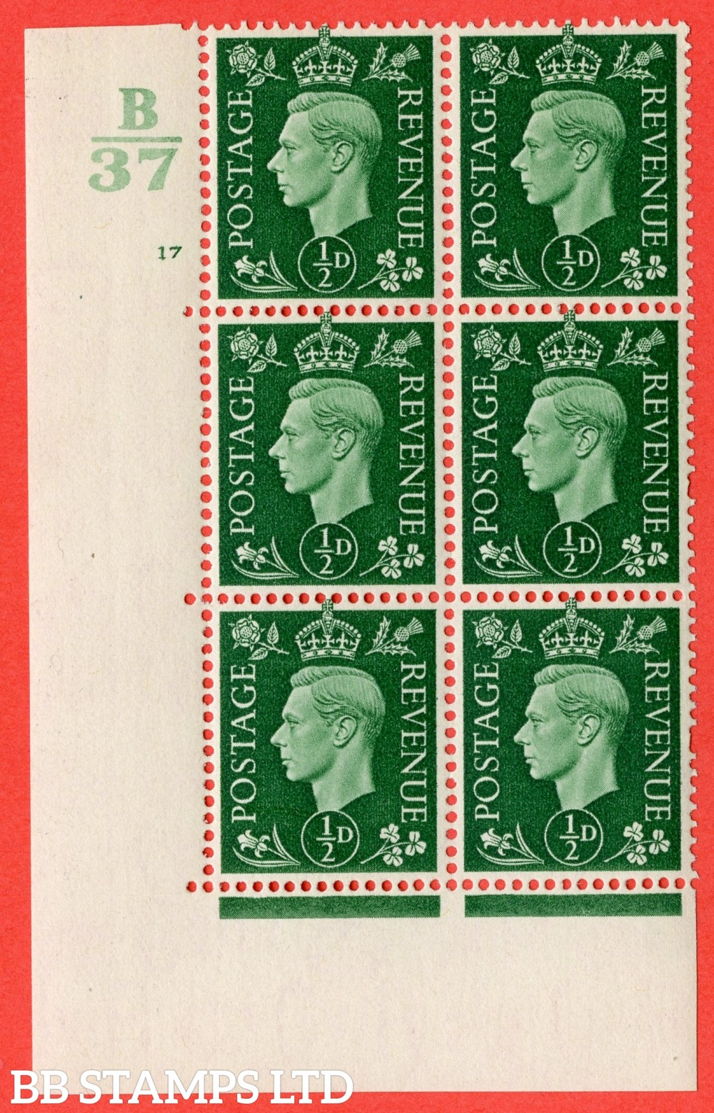 "SG. 462. Q1. ½d Green. A superb UNMOUNTED MINT "" Control B37 cylinder 17 no dot "" block of 6 with perf type 5 E/I with marginal rule."