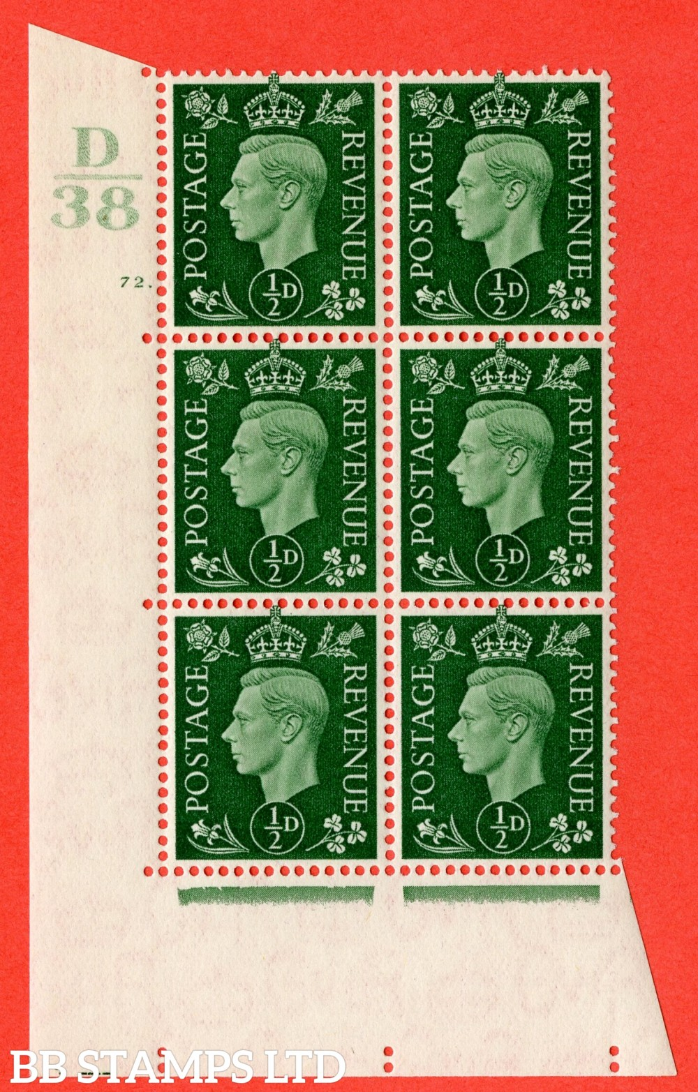 "SG. 462. Q1. ½d Green. A superb UNMOUNTED MINT "" Control D38 cylinder 72 (ii) dot "" block of 6 with perf type 5 E/I with marginal rule."