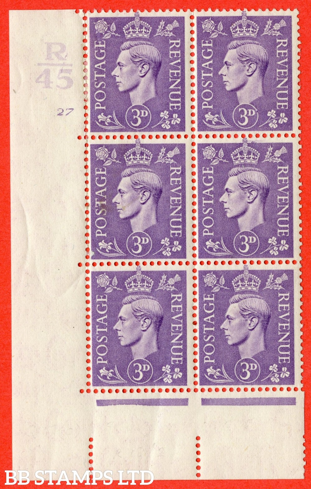 """SG. 490. Q17 c. 3d pale violet. A fine lightly mounted mint. """" Control R45 cylinder 27 no dot """" control block of 6 with perf type 5 E/I with listed variety """" broken circle to value """" Row 18/2."""