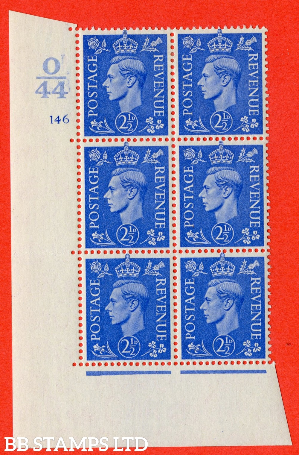 "SG. 489. Q14. 2½d Light ultramarine. A fine lightly mounted mint "" Control O44 cylinder 146 no dot "" control block of 6 with perf type 5 E/I."