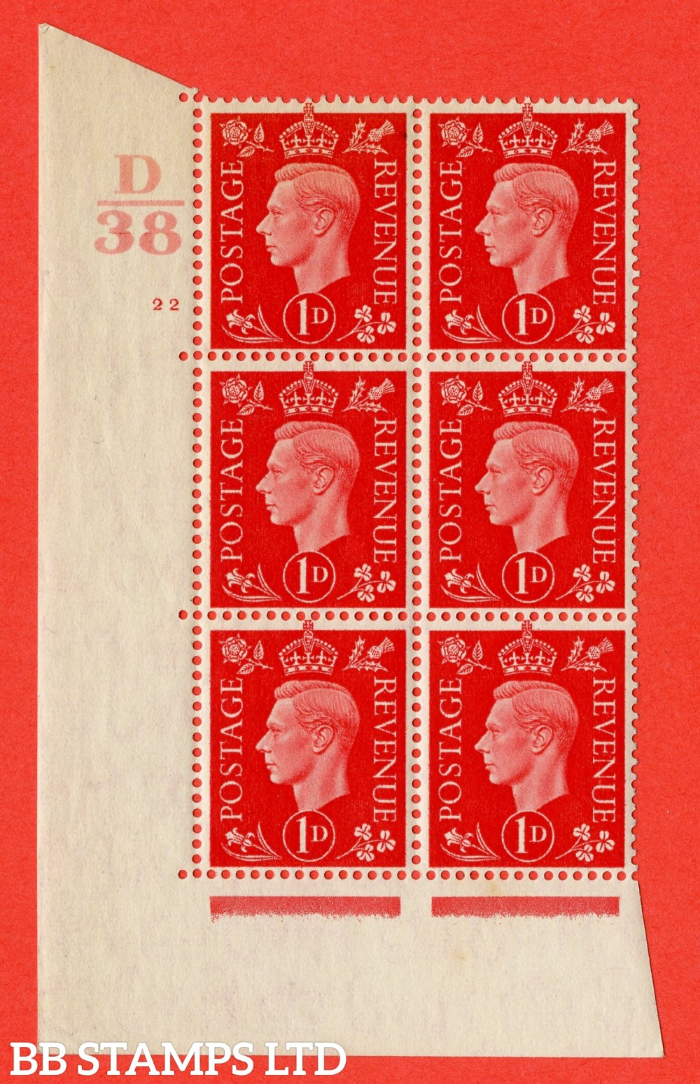 "SG. 463. Q4. 1d Scarlet. A superb UNMOUNTED MINT "" Control D38 cylinder 22 no dot "" block of 6 with perf type 5 E/I with marginal rule."