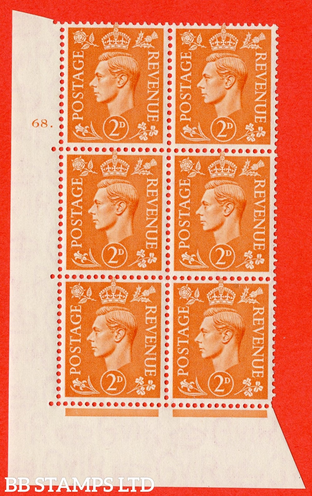 "SG. 488. Q11. 2d Pale Orange. A superb UNMOUNTED MINT "" No Control cylinder 68 dot "" control block of 6 with perf type 5 E/I"