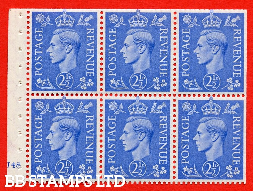 """SG. 489f. QB33. 2½d blue. A fine UNMOUNTED MINT complete Cylinder pane of 6 J48 No dot. Perf type """"B3(I)"""". Trimmed Perfs."""