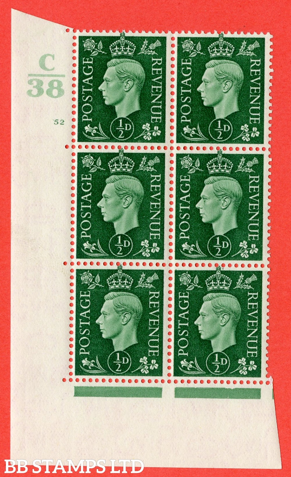 """SG. 462. Q1. ½d Green. A superb UNMOUNTED MINT """" Control C38 cylinder 52 no dot """" block of 6 with perf type 5 E/I."""
