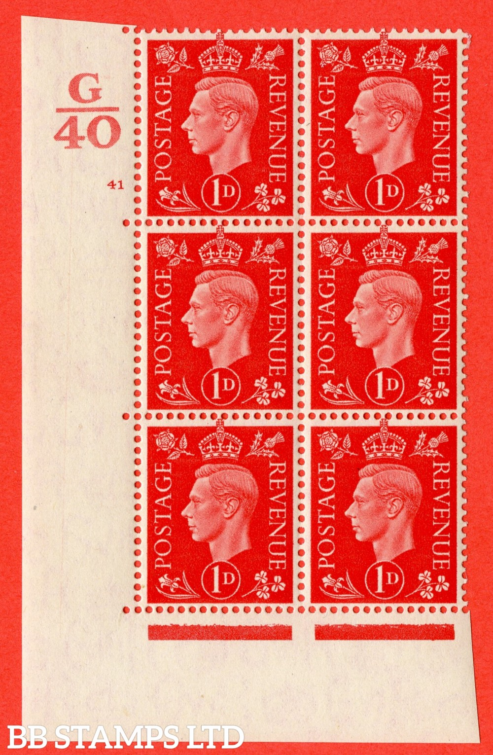 "SG. 463. Q4. 1d Scarlet. A superb UNMOUNTED MINT "" Control G40 cylinder 41 no dot "" block of 6 with perf type 5 E/I."