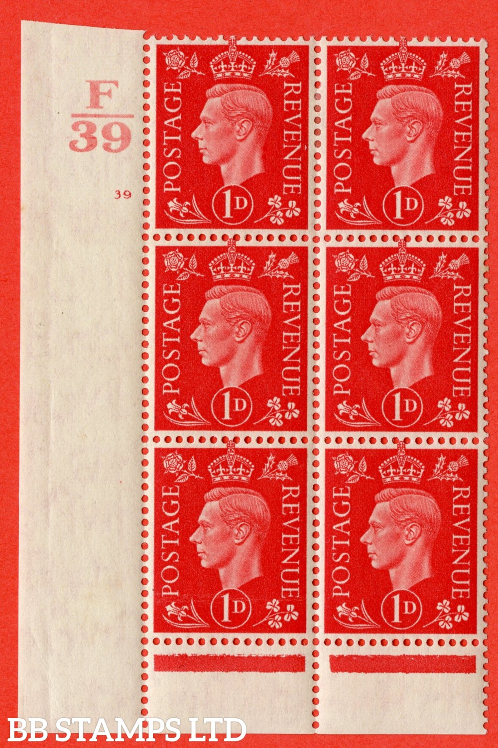 "SG. 463. Q4. 1d Scarlet. A lightly mounted mint "" Control F39 cylinder 39 no dot "" block of 6 with perf type 6 I/P."