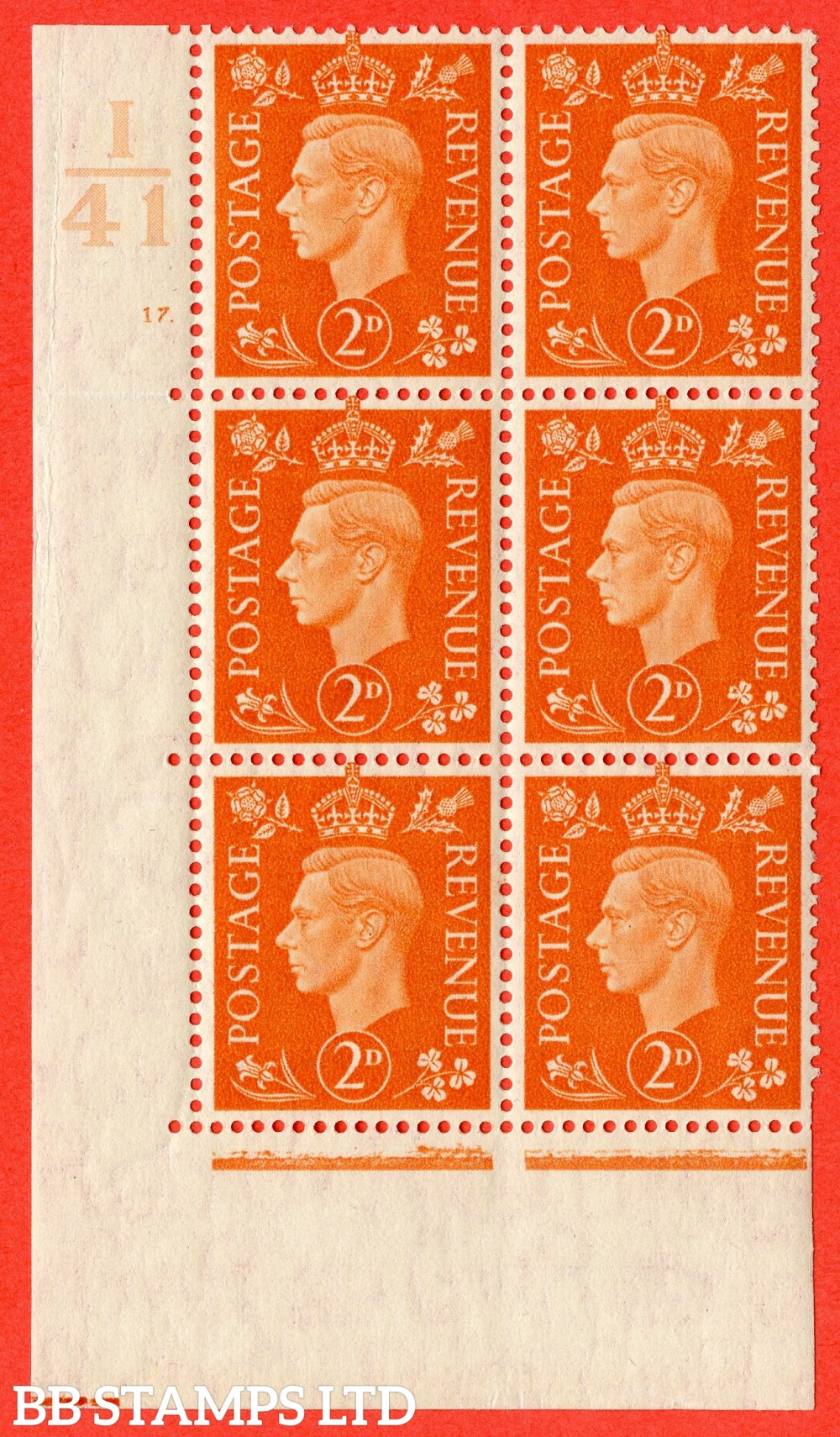 "SG. 465. Q10. 2d Orange. A superb UNMOUNTED MINT"" Control I41 cylinder 17 dot "" control block of 6 with perf type 5 E/I."