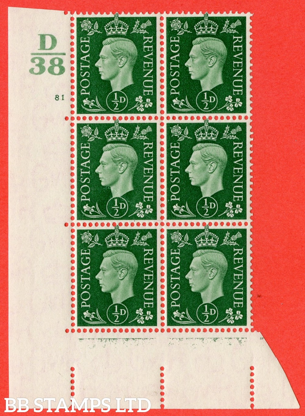 "SG. 462. Q1. ½d Green. A superb UNMOUNTED MINT "" Control D38 cylinder 81 no dot "" block of 6 with perf type 5 E/I."