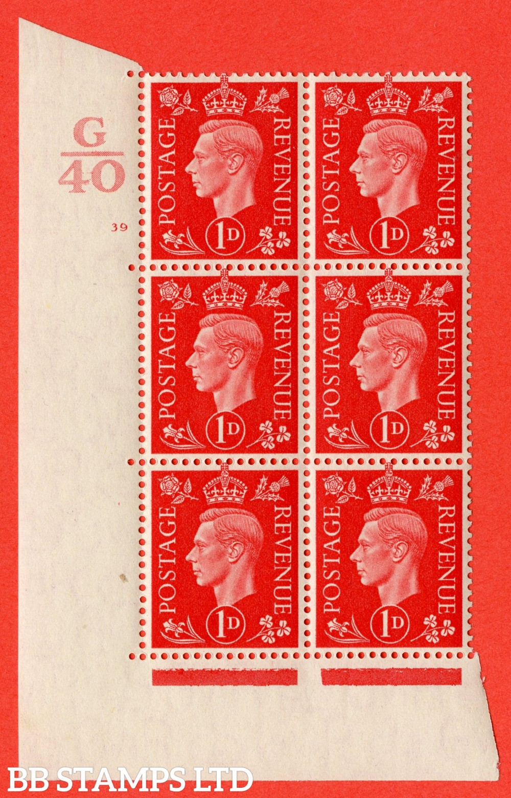 "SG. 463. Q4. 1d Scarlet. A superb UNMOUNTED MINT"" Control G40 cylinder 39 no dot "" block of 6 with perf type 5 E/I."