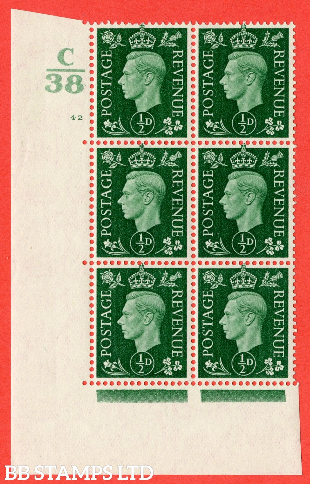 "SG. 462. Q1. ½d Green. A superb UNMOUNTED MINT "" Control C38 cylinder 42 no dot "" block of 6 with perf type 5 E/I."