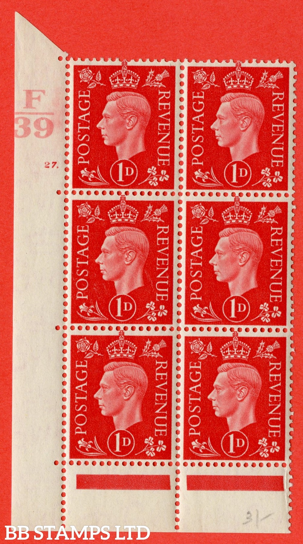 "SG. 463. Q4. 1d Scarlet. A fine lightly mounted mint "" Control F39 cylinder 27 dot "" block of 6 with perf type 6B E/P."
