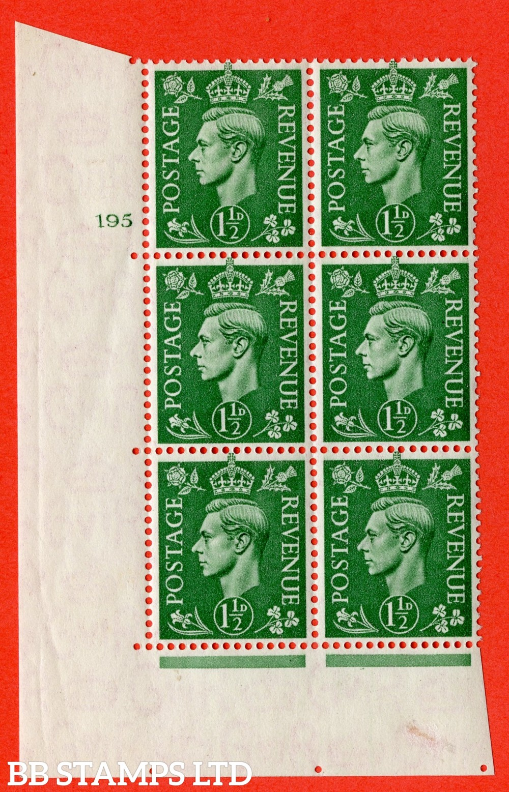 "SG. 505. Q9. 1½d Pale Green. A superb UNMOUNTED MINT "" No Control cylinder 195 no dot "" control block of 6 with perf type 5 E/I"