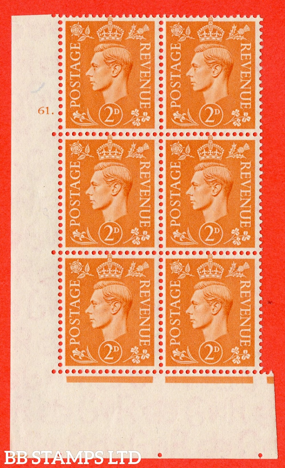 "SG. 488. Q11. 2d Pale Orange. A superb UNMOUNTED MINT "" No Control cylinder 61 dot "" control block of 6 with perf type 5 E/I"