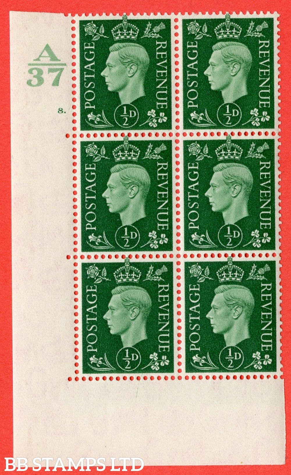"SG. 462. Q1. ½d Green. A superb UNMOUNTED MINT "" Control A37 cylinder 8 dot "" block of 6 with perf type 5 E/I without marginal rule."