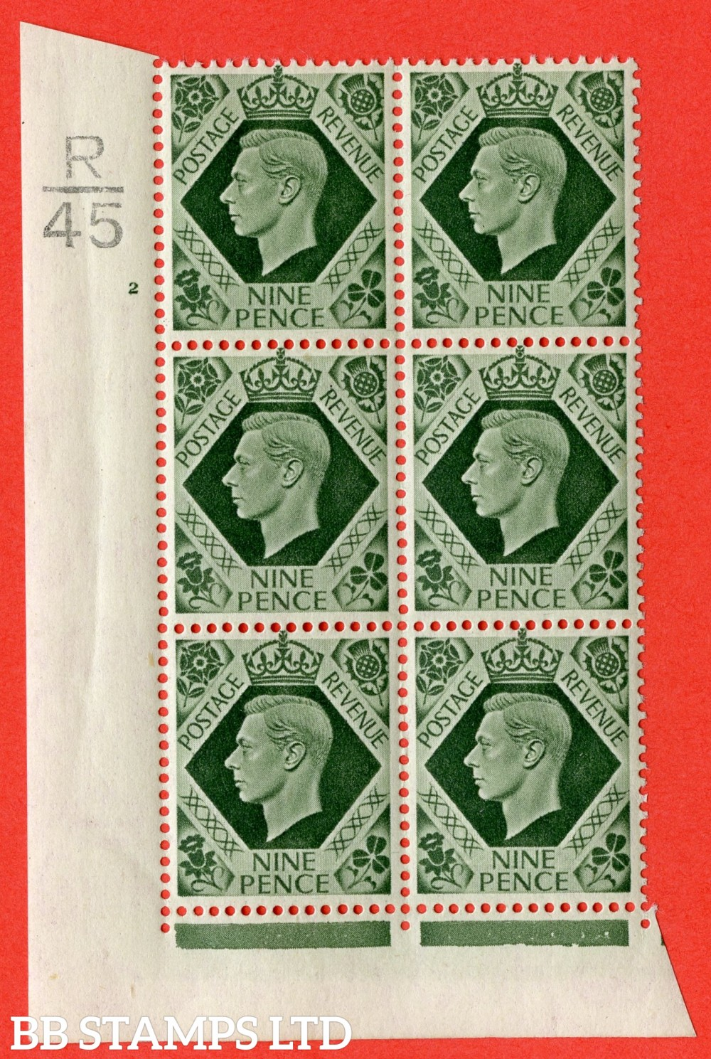 "SG. 473. Q25. c. 9d Olive-Green. A superb UNMOUNTED MINT "" Control R45 cylinder 2 no dot "" control block of 6 with perf type 2 I/E with listed variety "" Serif touched out but dot remains "" Row 18/1"