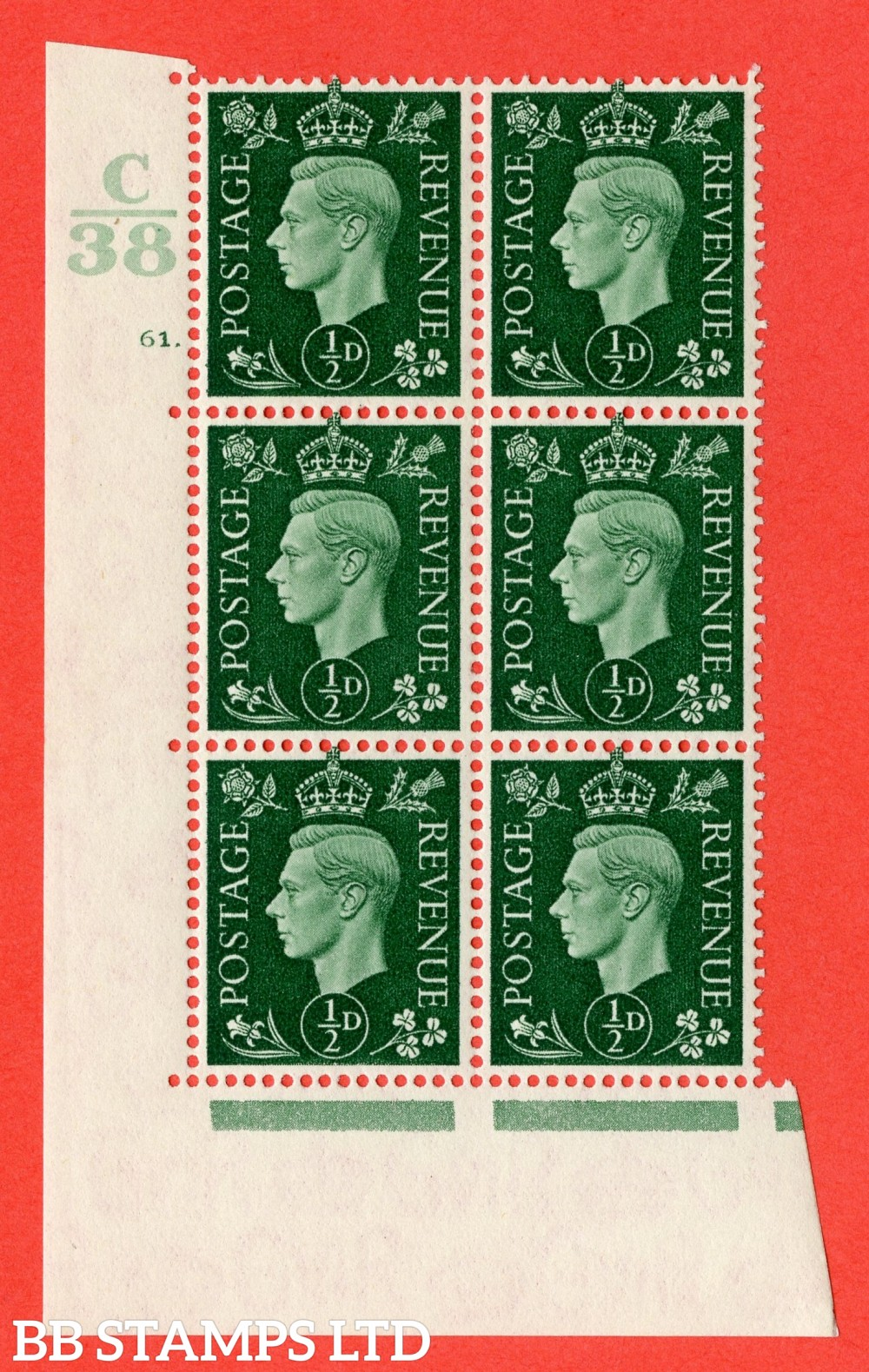 "SG. 462. Q1. ½d Green. A superb UNMOUNTED MINT "" Control C38 cylinder 61 no dot "" block of 6 with perf type 5 E/I with marginal rule."