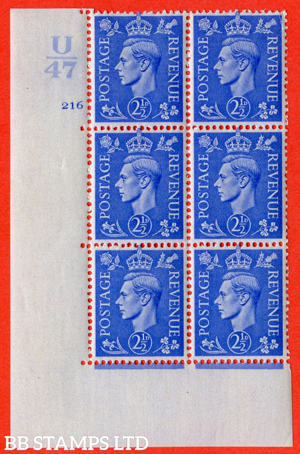 "SG. 489. Q14. 2½d Light ultramarine. A fine lightly mounted mint "" Control U47 cylinder 216 no dot "" control block of 6 with perf type 5 E/I"