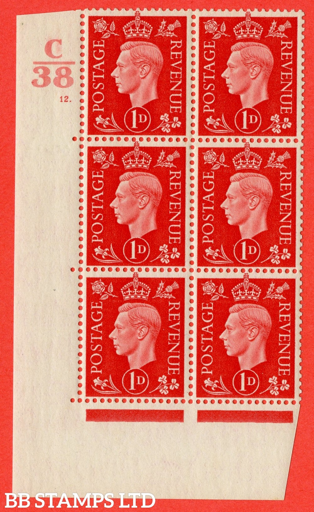 """SG. 463. Q4. 1d Scarlet. A superb UNMOUNTED MINT """" Control C38 cylinder 12 dot """" block of 6 with perf type 5 E/I with marginal rule."""
