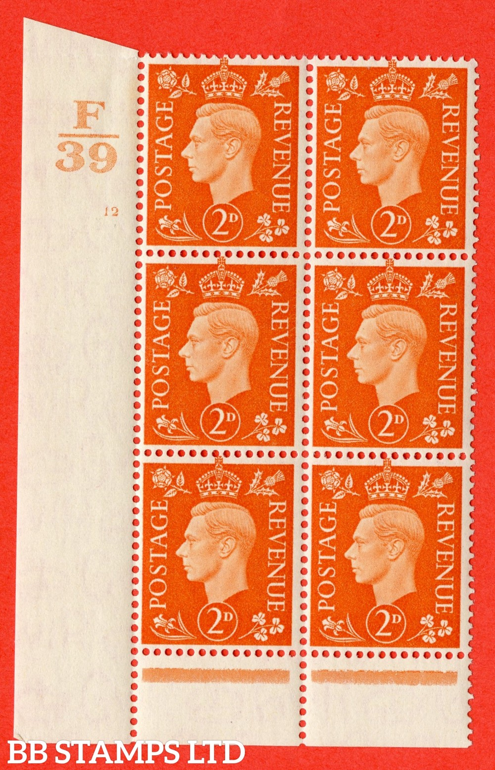 "SG. 465. Q10. 2d Orange. A fine lightly mounted mint "" Control F39 cylinder 12 no dot "" control block of 6 with perf type 6 I/P."