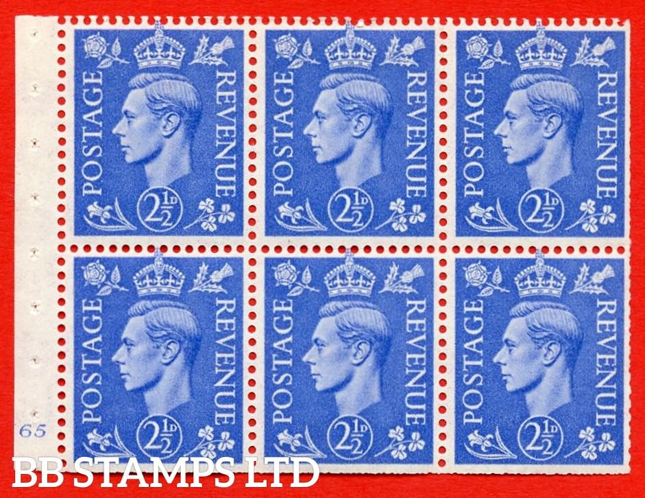 """SG. 489f. QB33. 2½d blue. A fine MOUNTED MINT complete Cylinder pane of 6 J65 No dot. Perf type """"B3(I)"""". Trimmed Perfs."""