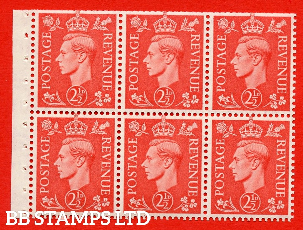 """SG. 507 c. QB34. 2½d pale scarlet. A fine UNMOUNTED MINT Booklet pane of 6. Perf type """" I """". Trimmed Perfs."""