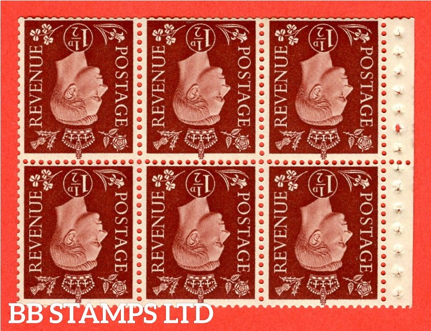 QB21a Perf Type P 1½d Red-Brown x 6 Pane, UNMOUNTED MINT Watermark Inverted. ( SG. 464cw ) Perf type P. Good Perfs.