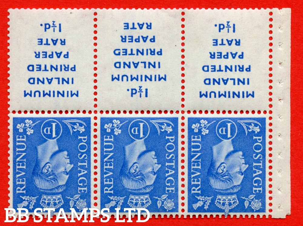"""SG. 504dw. QB18a. 1d ultramarine. A fine MOUNTED MINT example with """" MINIMUM INLAND PRINTED PAPER RATE """" 17 mm high. Perf type """" Iet """". Good Perf."""
