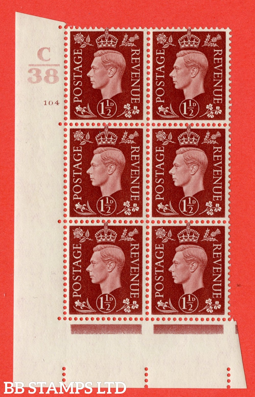 """SG. 464. Q7. 1½d Red-Brown. A superb UNMOUNTED MINT """" Control C38 cylinder 104 dot """" block of 6 with perf type 5 E/I."""
