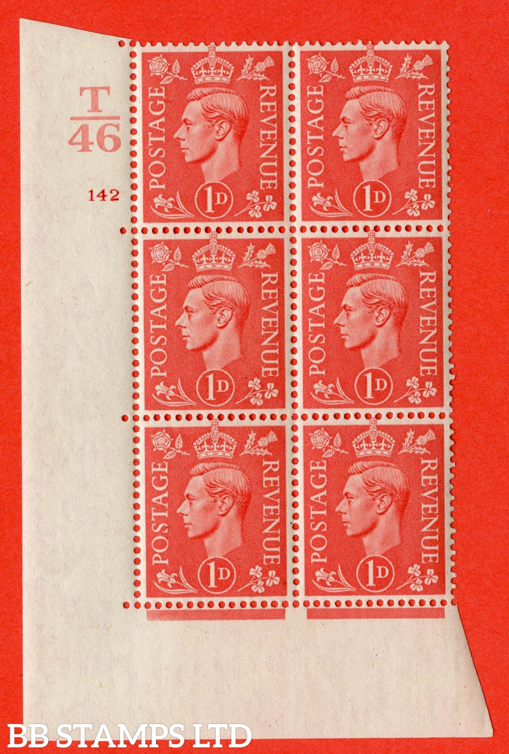 "SG. 486. Q5. 1d Pale scarlet. A superb UNMOUNTED MINT "" Control T46  cylinder 142 no dot "" control block of 6 with perf type 5 E/I."
