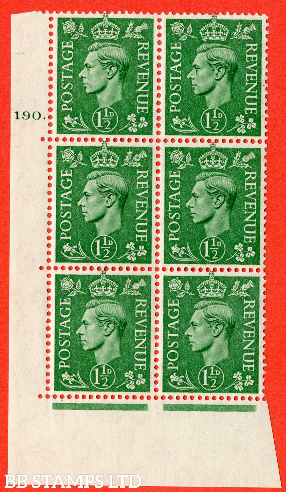"""SG. 505. Q9. 1½d Pale Green. A fine lightly mounted mint """" No Control cylinder 190 dot """" control block of 6 with perf type 5 E/I"""